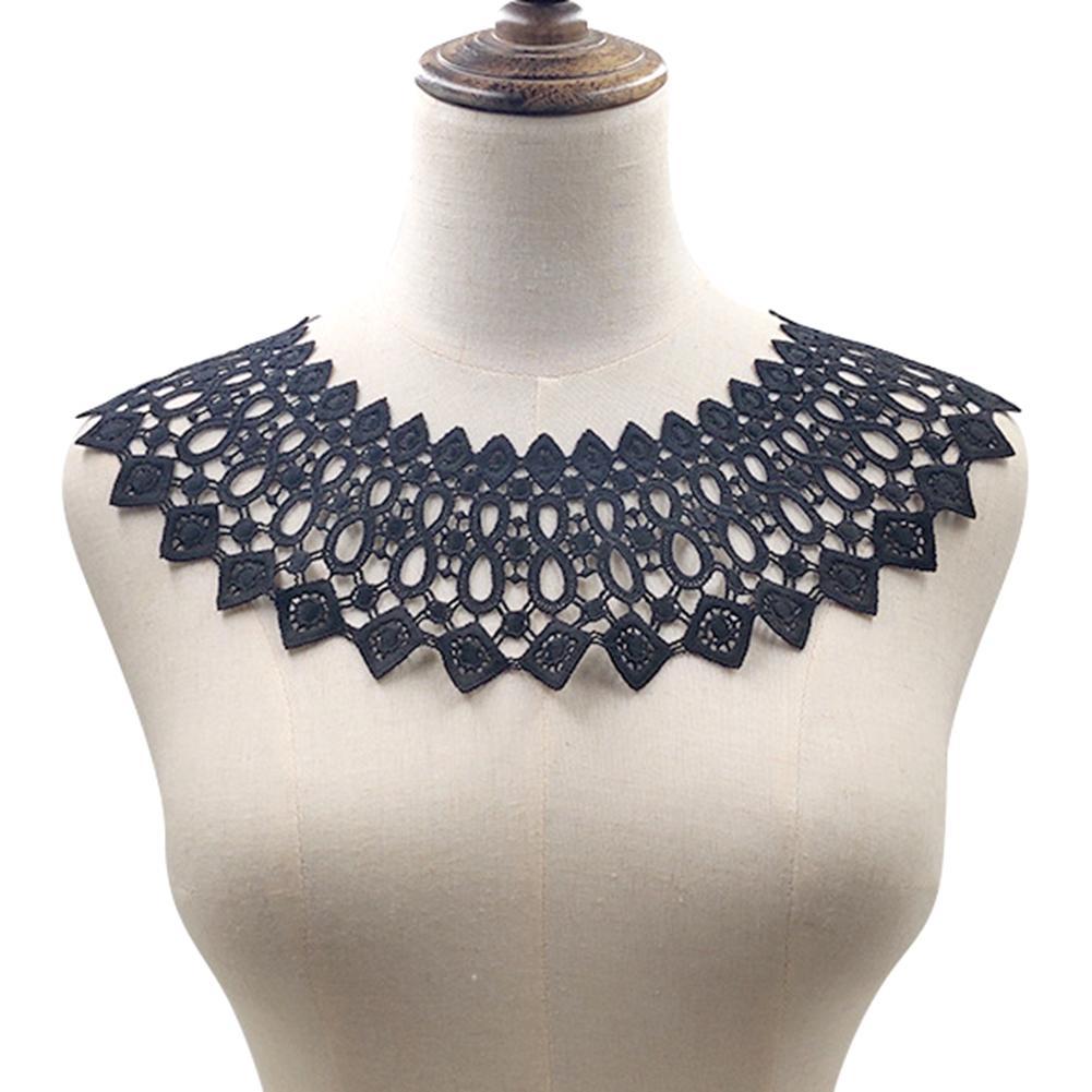 White Black Milk Silk Hollow DIY Embroidery Neckline Collar Clothes Sewing Applique Decor Accessories