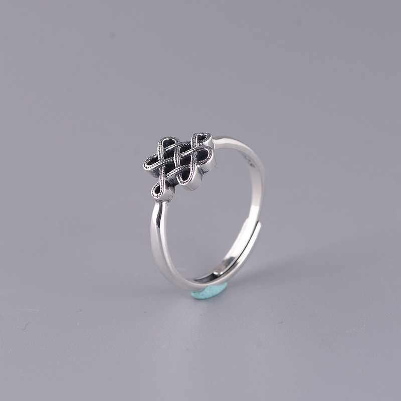BALMORA ريال 925 فضة ريترو الصينية عقدة مفتوحة خاتم مصمم من أجزاء متراصة للنساء هدية مجوهرات الأزياء العرقية التقليدية Anillos