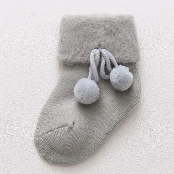 0-2 Years Old Autumn and Winter Baby Socks Boys and Girls Terry Socks Baby Cotton Warm Socks - Gray, 3M