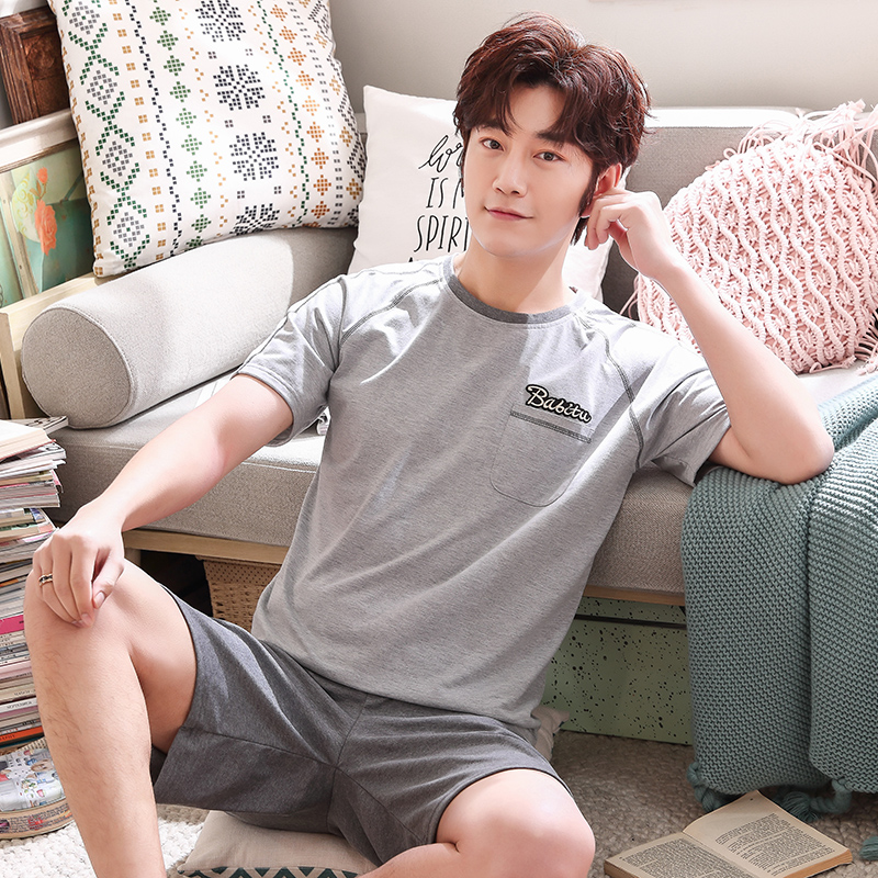 Summer Mens Pajamas 100%Cotton Letter Striped Cartoon Pajama Set Short-sleeve Casual Men Pyjamas Plus Size L-XXXXL Pijama Hombre