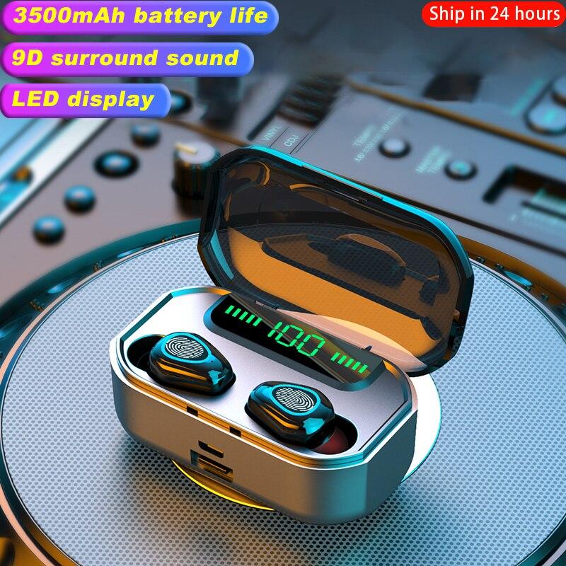 2020 New 3500mah Bluetooth V5.0 Earphone LED Wireless <font><b>Headphone</b></font> Headset Earbuds TWS Waterproof Sport Earphones <font><b>Headphones</b></font>