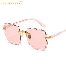 LongKeeper Square Sunglasses Women Rimless Gradient Sun Glas