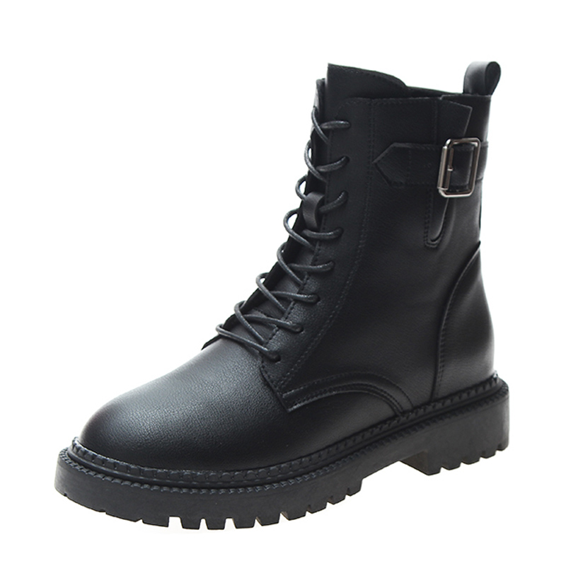 Women Winter Plus Velvet Zipper Leather Outdoor Snow Boots Size 35-40 Black Leather High Top Boots Hiking Driving Shoes %1953