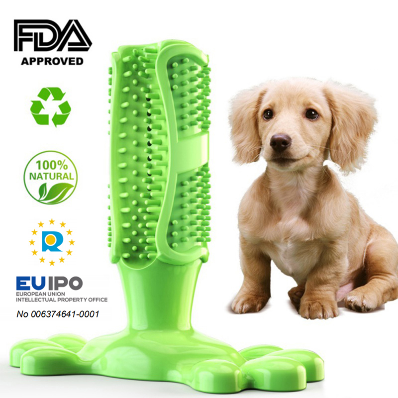 Pet Dog Toothbrush Chew Toy Doggy Brush Stick Soft Rubber Teeth Cleaning Dot Massage Toothpaste for Small dogs Pets Toothbrushes(China)