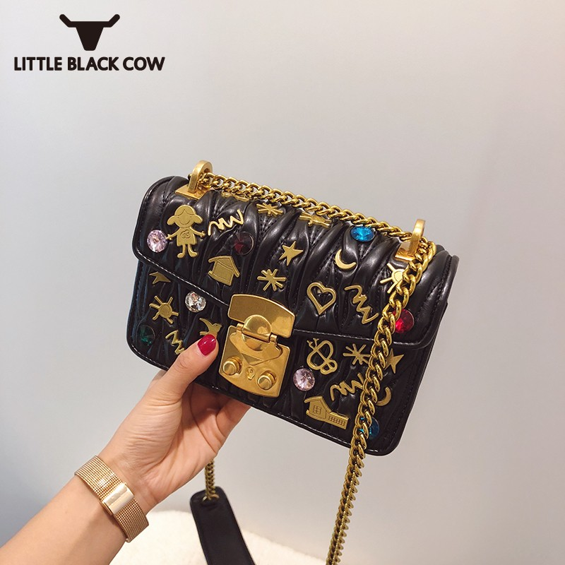 2019 New Women Kawaii Pattern Rivets Pu Leather Shoulder Bag Small Flap Fashion Ladies Chain Sling Crossbody Bags Red Handbag