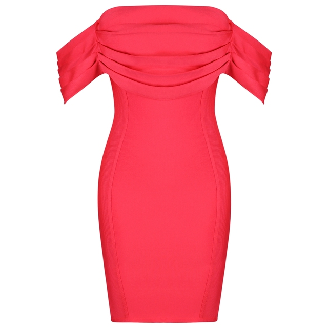 Deer Lady Women Bodycon Summer Bandage Dress 2019 New Arrival Pink Off Shoulder Bandage Dress Party Celebrity Bodycon Dress Sexy