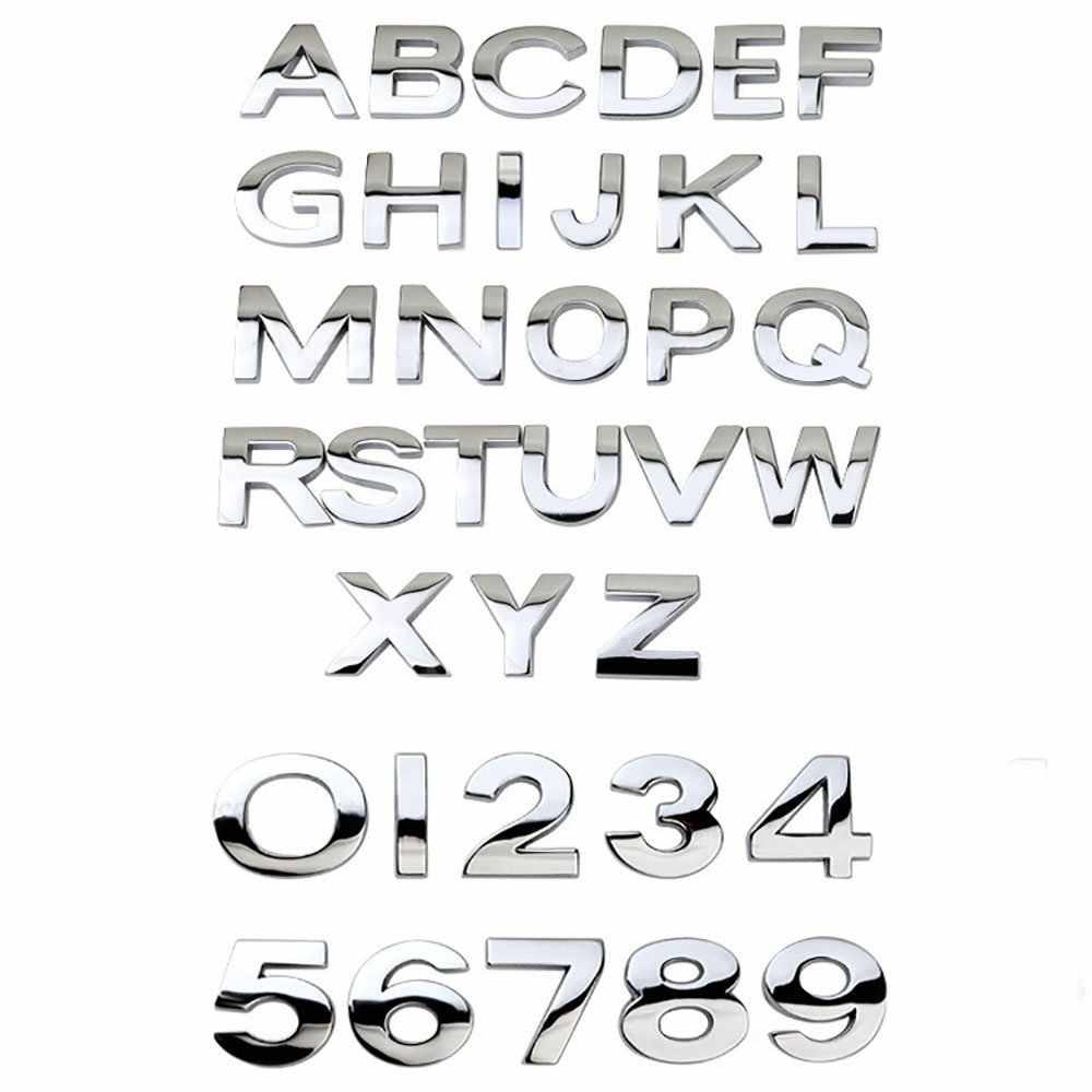 سيارة ثلاثية الأبعاد رسالة الإنجليزية رسائل شعار سيارة DIY بها بنفسك أبجدي رقمي ملصقات الجسم المعدني كلمة علامة الذيل الفضة لسيارات BMW لأودي لفورد