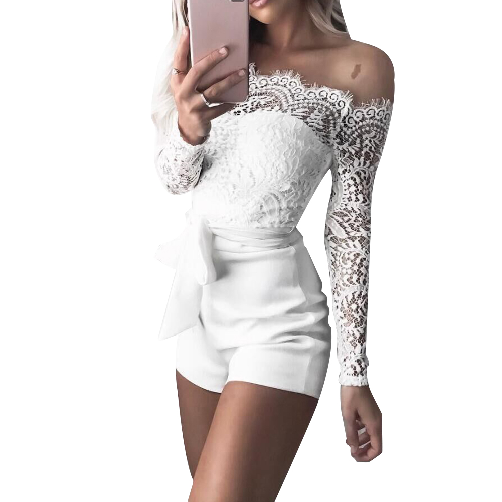 Party Sexy Women Solid Color Off Shoulder Long Sleeve Bandage Lace Jumpsuit Solid Color Off Shoulder Long Sleeve  Lace Jumpsuit
