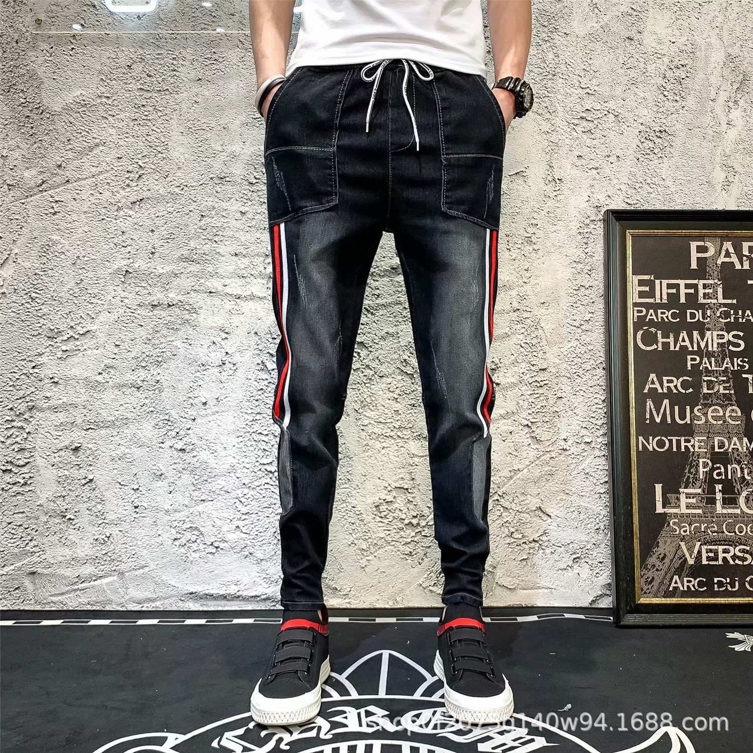 Summer Thin Section Jeans Nsh Fella Pants Men Capri Pants Korean-style Trend Slim Fit Deft Skinny Pants