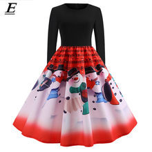 Vintage Christmas Dress Women Casual Patchwork Party Dress Christmas Musical Notes Robe 50S 60S Rockabilly Swing Pinup Vestidos(China)