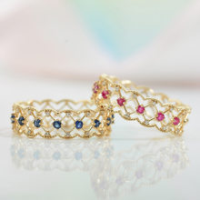 Vintage Female Red Blue Zircon Ring Charm Gold Color Open Wedding Rings For Women Dainty Bridal Hollow Crystal Engagement Ring