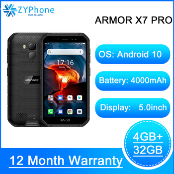 NFC Android 10 IP69K IP68 shockproof mobile phones 4GB 32GB GPS cell phone 4000mAh 4G Rugged Smartphone Ulefone Armor X7 Pro