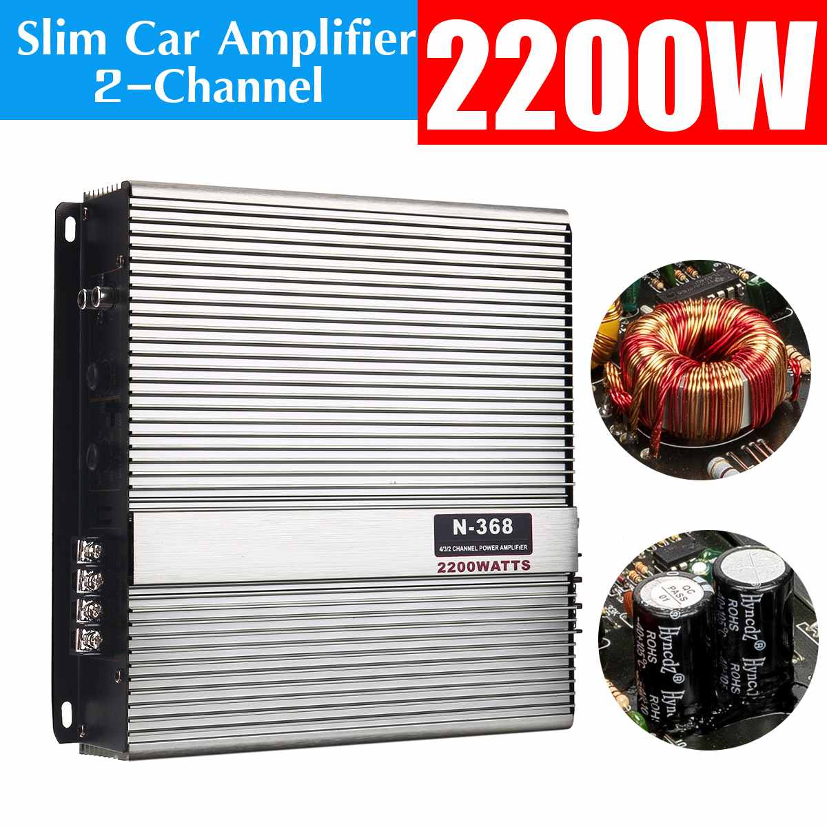 2200W 12V Car Amplifier Audio Stereo Bass Speaker Car Audio Amplifiers Subwoofer Car Audio Amplifiers With Wire Kit