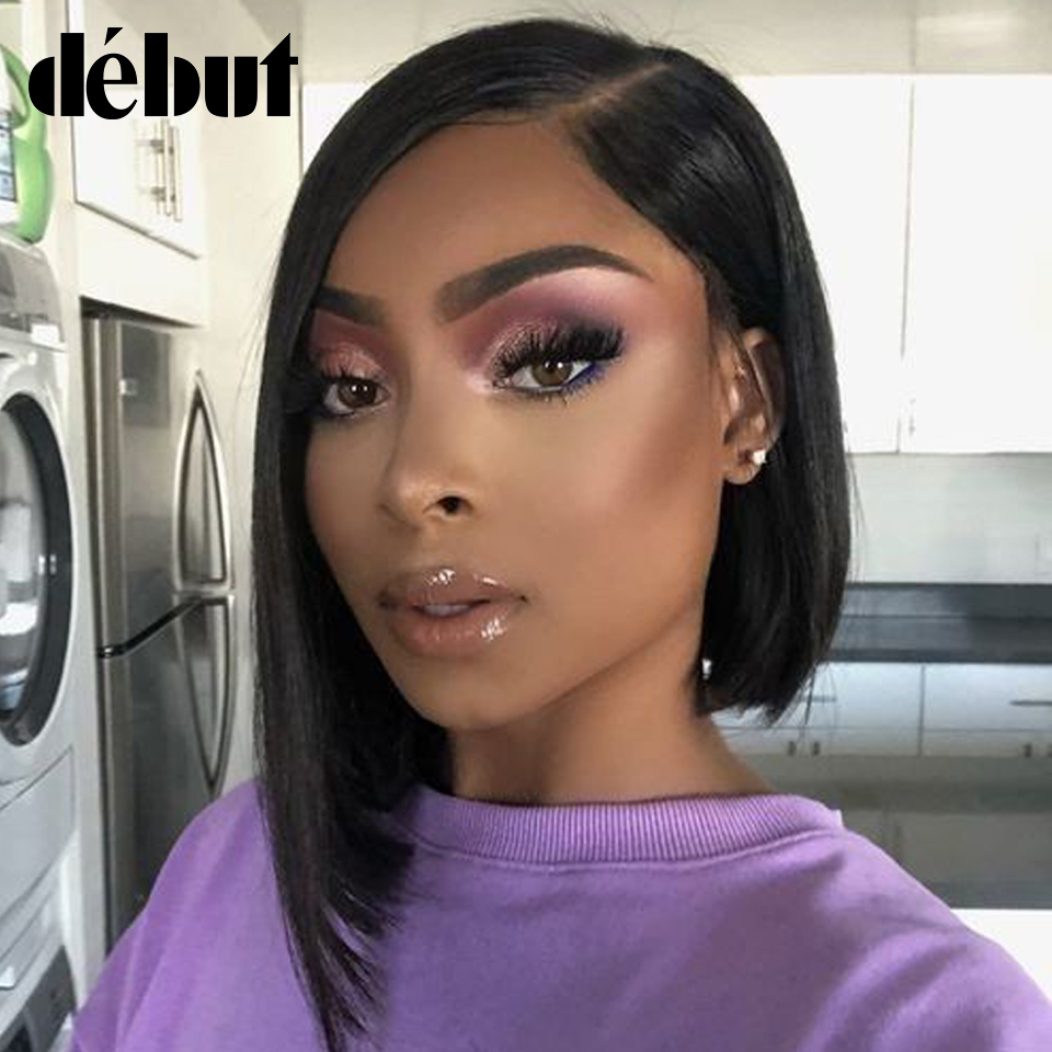 Debut Short Bob Human Hair Wigs Brazilian Straight Remy Human Hair Part Lace Wig With Lace Front Human Hair Wigs For Black Women
