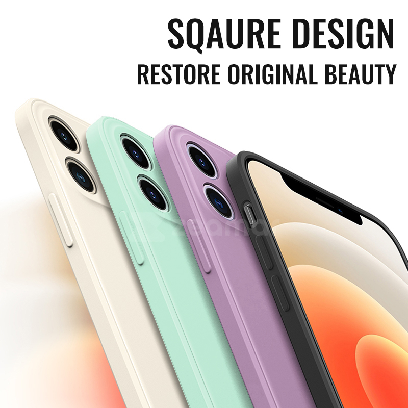 Custodia in Silicone liquido quadrata originale di lusso per iPhone 12 11 Pro Max Mini XS X XR 6 6S 7 8 Plus SE 2 custodia morbida per caramelle 2