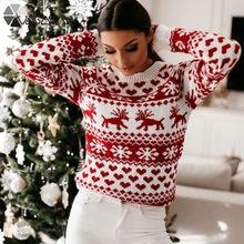 Женский вязаный свитер Рождественская Снежинка с принтом лося
