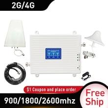 2G 3G 4G 900/1800/2600 GSM DCS FDD LTE 4G tri band repetidor de señal GSM celular de señal móvil Booster 4 gamplificador