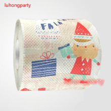 3packs 30m/pack lovely Santa Claus Christmas napkin Roll Dollar Bill Toilet Paper Novelty Toilet Tissue Christmas Wholesale(China)