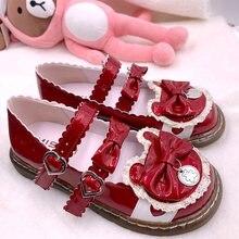 Японские туфли в стиле «Лолита» винтажном стиле; Круглый носок