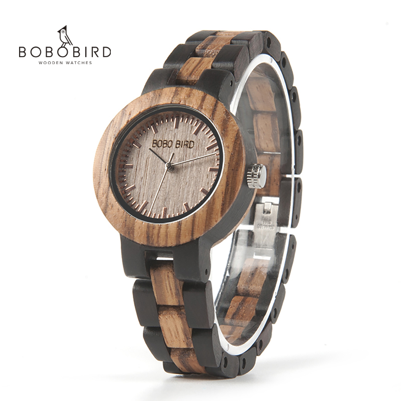 BOBO BIRD Ladies Wood Watch Luxury Bracelet Watches With Two Colors Wooden Strap Women Dress Watch Relogio Feminino V-N30