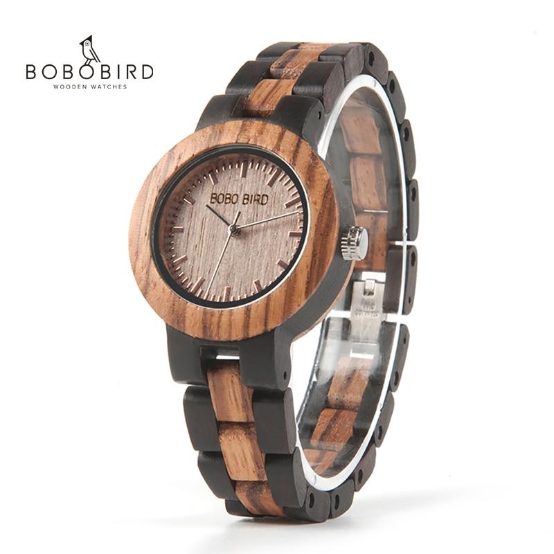 BOBO BIRD Ladies Wood Watch Luxury Bracelet Watches With Two Colors Wooden Strap Women Dress Watch Relogio Feminino V-N30