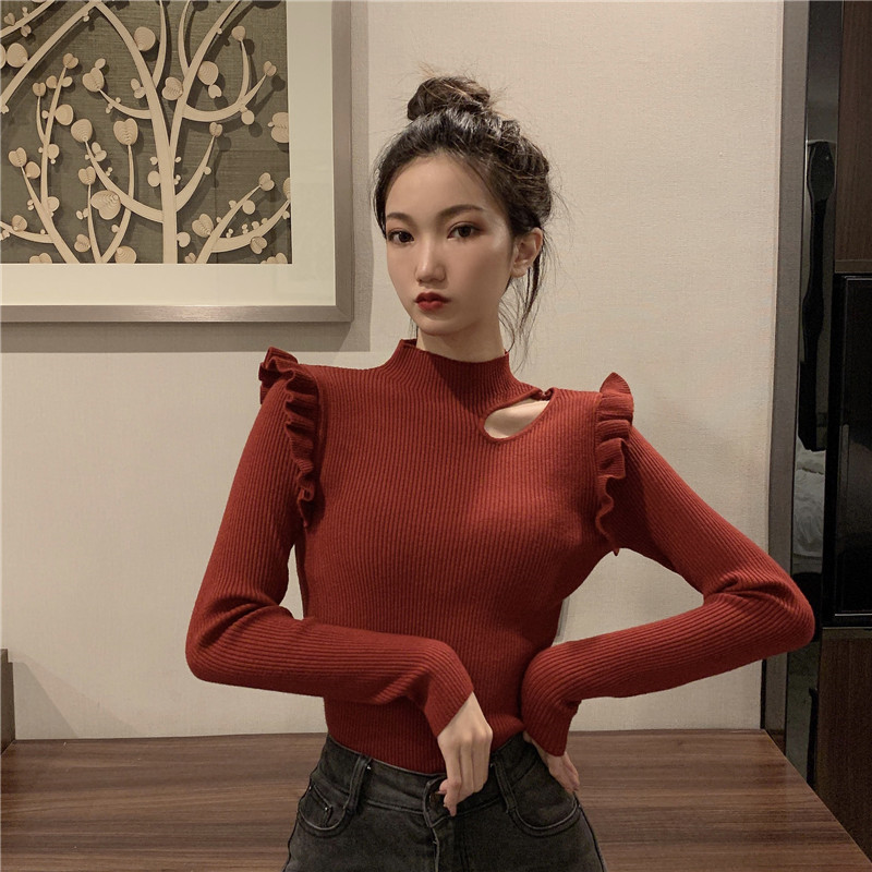 Autumn Winter Women Fashion Knitting Ruffled Sweaters Pullovers Tops Girls Knitted Ruffles Hollow Out Sweater For Female