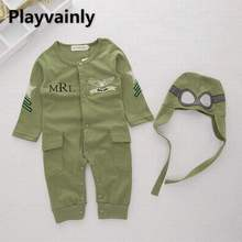 Wholesale Baby Boy Romper 2021 New army green cotton Long Sleeve Romper +Hat Toddler Clothing E12985
