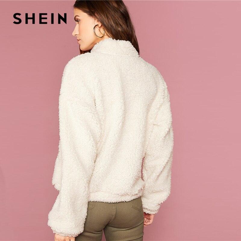 SHEIN White Funnel Neck Drop Shoulder Teddy Jacket Women Coats Winter Streetwear Long Sleeve Zipper Front Ladies Casual Outwear 2