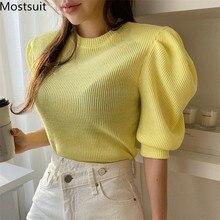 2020 Summer Knitted Korean Puff Sleeve T Shirts Tops Women Short Sleeve O-neck S