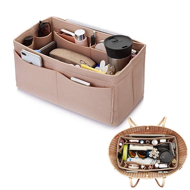 Cosmetic Bags Felt Cloth Handbag Organizer Insert Bag Travel Inner Purse Portable Make Up Organizer Fits Speedy Neverfull