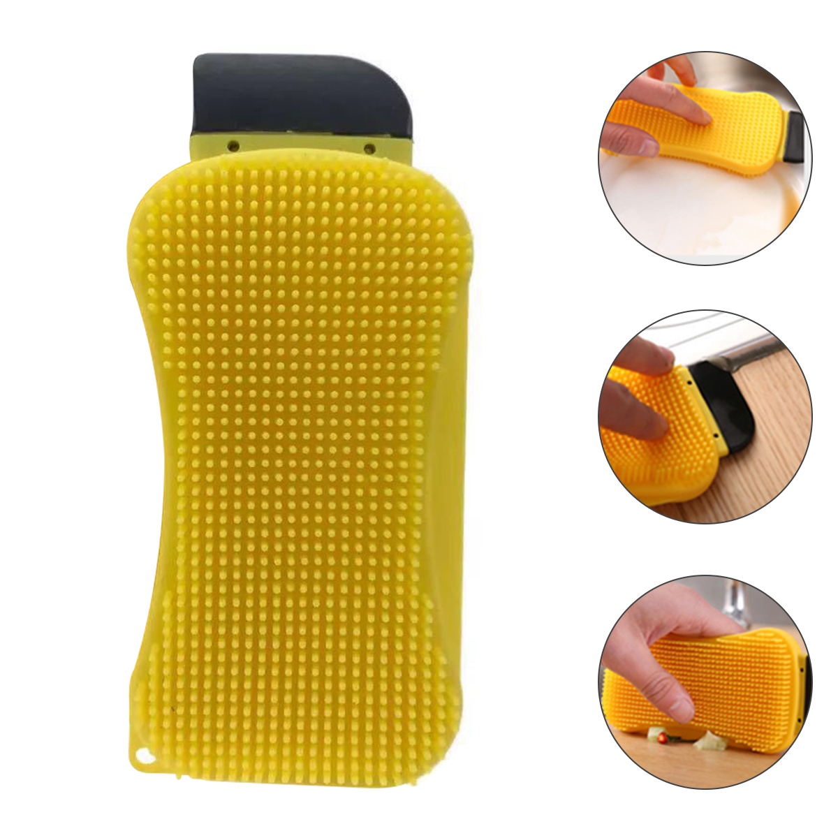New 3 in 1 Kitchen Cleaning Tool Sponge Brush Silicone Cleaning Brush Wash Pan Dish Bowl Sponge Scraper With Soap Dispenser