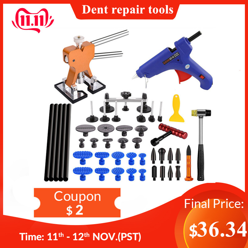 Pdr ferramentas paintless dent repair tools pistola de cola extrator cola pdr torneiras remoção do corpo automático kit remoção dentes
