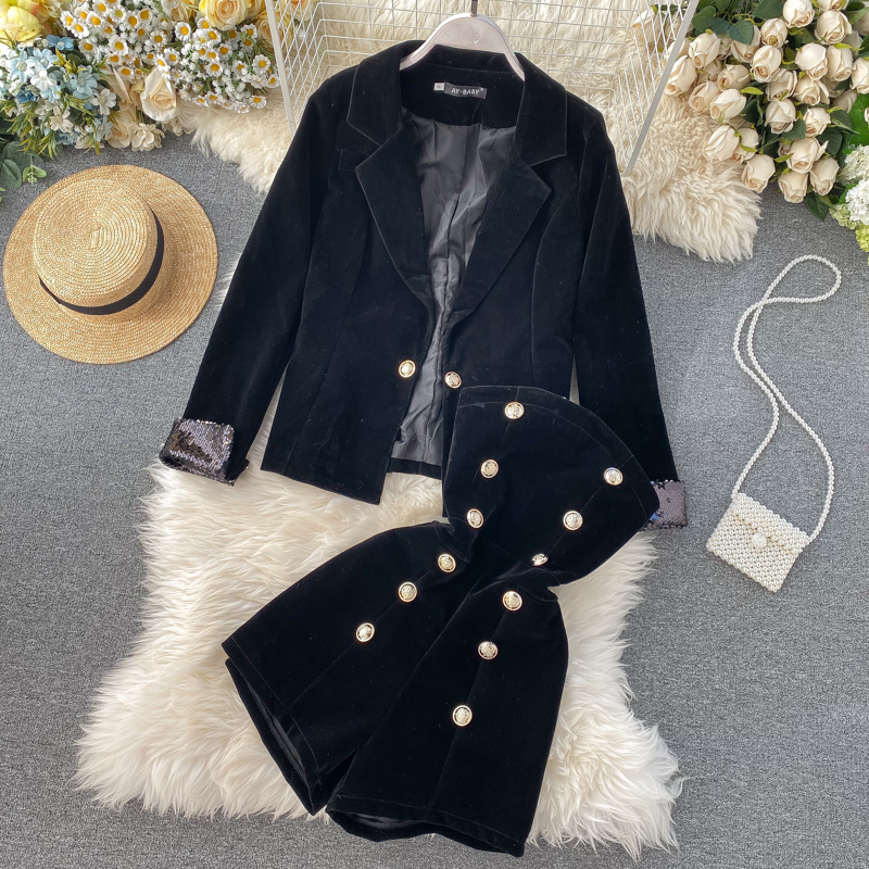 2020 new fashion women's clothing Jacket + Jumpsuit 2 piece outfits for women