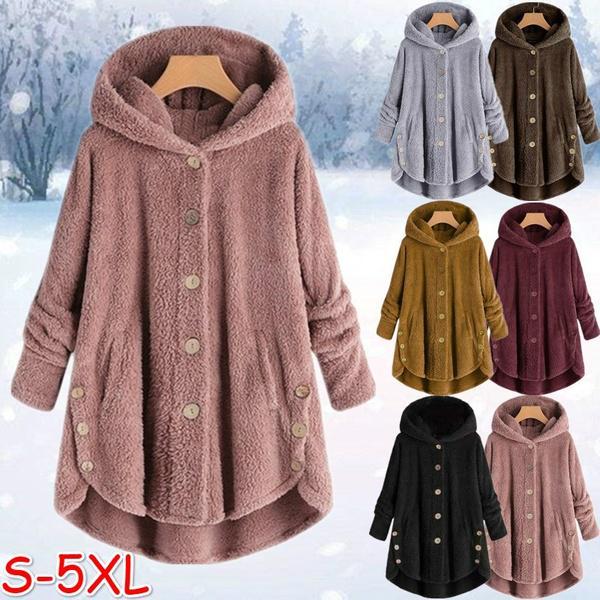 Winter Coats Hooded Fleece Fluffy Button Warm Padded Jacket Women Casual Pocket Single Breasted Solid Parkas Outwear Plus Size 1