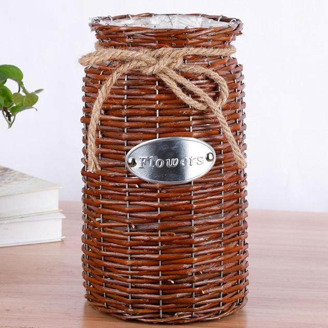 Wicker Woven Basket Flower Vase - Home & Garden