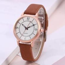Fashion Casual Women Watch Big Round Dial Faux Leather Band Arabic Numbers Ladies Quartz Wrist Watches zegarki damskie dial loving heart ladies faux leather strap band flowers print analog watch brand fashion casual quartz wrist watch for women