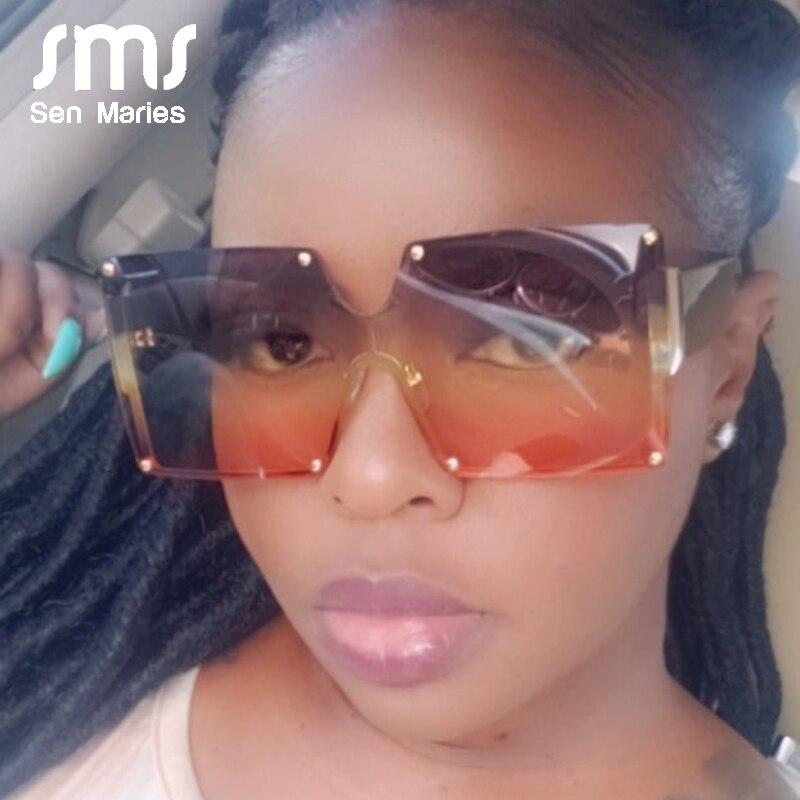2020 moda kare güneş kadınlar marka tasarımcısı boy degrade mavi siyah tek parça güneş gözlüğü yeni stil tonları UV400