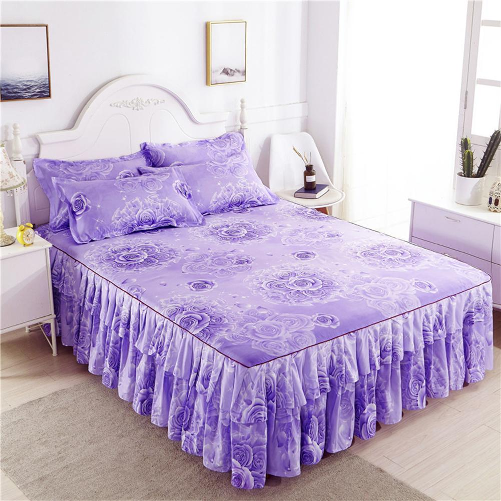 Fashion Nordic Romantic Flower Pattern Polyester Ruffled Bedspreads Bed Skirt Queen Bed Covers Bedclothes Sheet Home Room Decor