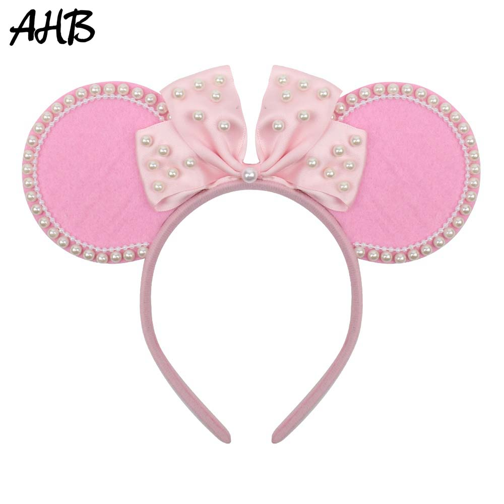 AHB Pink Felt Mouse Ears Hairbands for Girls Handmade Pearls Ribbon Bowknot Hair Hoop Cute Headband Party Kids Accessories