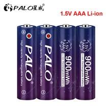 PALO 100% Capacidade 1.5V Bateria de íon Li AAA 900mWh 3A 1.5V Li-ion De Lítio Recarregável Bateria Baterias Bateria para Termômetro