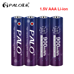PALO 100% Capacity 1.5V AAA Li ion Battery 3A 1.5V 900mWh Lithium Li-ion Rechargeable Battery Bateria Batteries for Thermometer