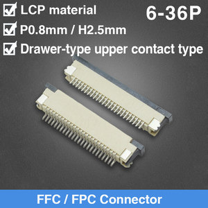 FFC коннектор 0,8 мм Шаг 6 8 9 10 12 14 16 18 20 22 24 26 30 36Pin ящик верхний контактный тип