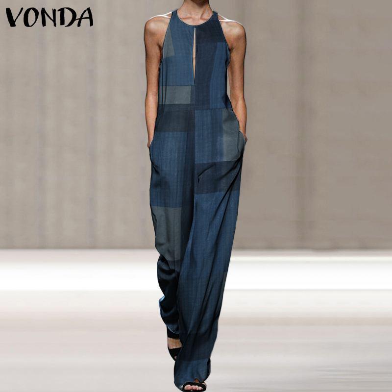 Summer Jumpsuit Women Rompers VONDA 2020 Vintage Sleeveless Patchwork Playsuit Long Wide Leg Pants Trousers Pantalon Femme S-5XL