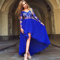 Blue Chiffon High Low Evening Dresses Prom Lace Appliques Arabic Vestidos De Fiesta De Noche Robe De Soiree Plus