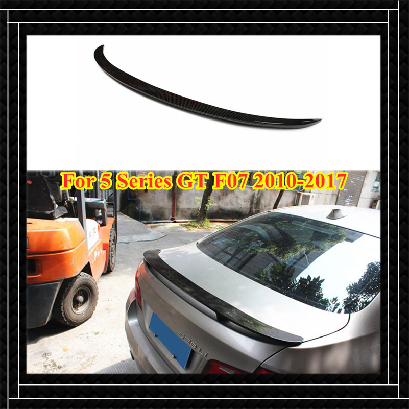 1 piece Top quality Real Carbon fiber Car Spoiler For B-M-W 5 Series <font><b>GT</b></font> <font><b>F07</b></font> 2010-2017 AC/Performance/Harman Style Rear wing image
