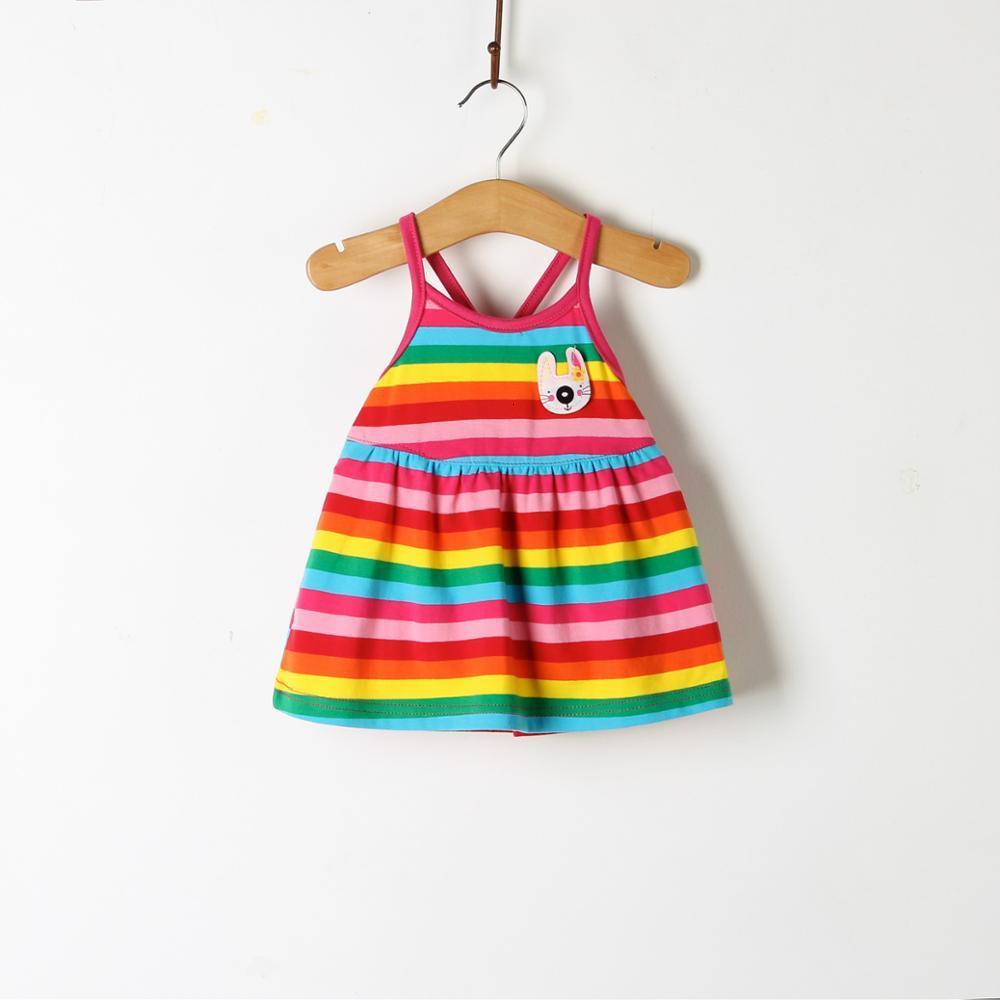 He8c2f7b43d8544c8bb8d13544bf961caD Girls Dress 2018 Summer Explosion Solid Color Denim Dress Cartoon Polka Dot Bow Cartoon Bunny Satchel Korean Baby Cute Dress