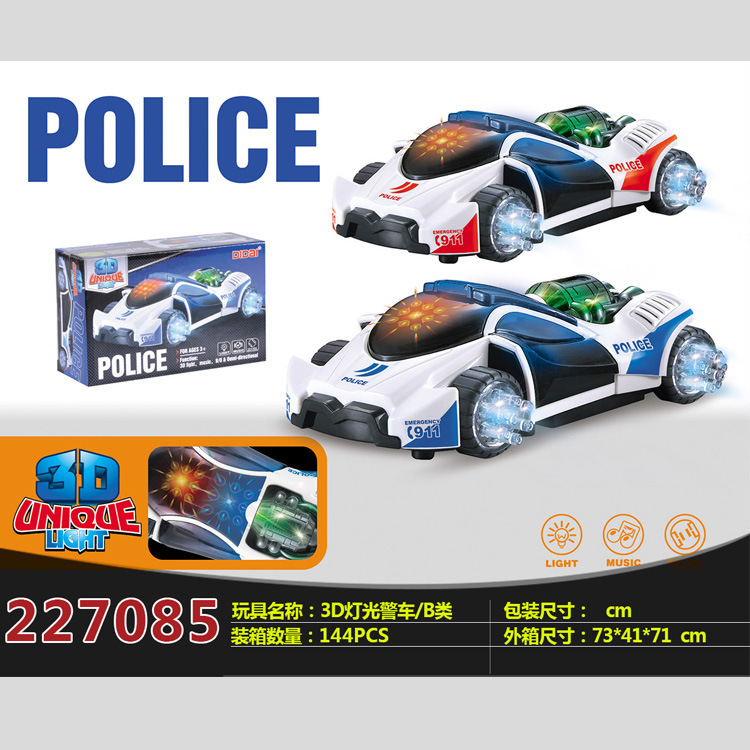 Hot Sales Ld-125a New Style CHILDREN'S Toy Model Electric 3D Cool Lights Police Car