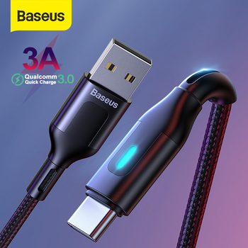 Baseus USB Type C LED Cable USB C Cable for Samsung S20 S10 Quick Charge 3.0 USB C Cable Phone Cord Type C Cable LED Wire Code