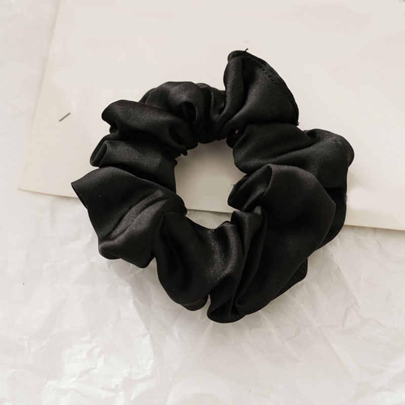 1Pcsผู้หญิงFauxผ้าไหมซาตินScrunchies Lady Simpleยืดหยุ่นHeadbands HairbandsหญิงผมTieเชือกผมอุปกรณ์เสริมผม