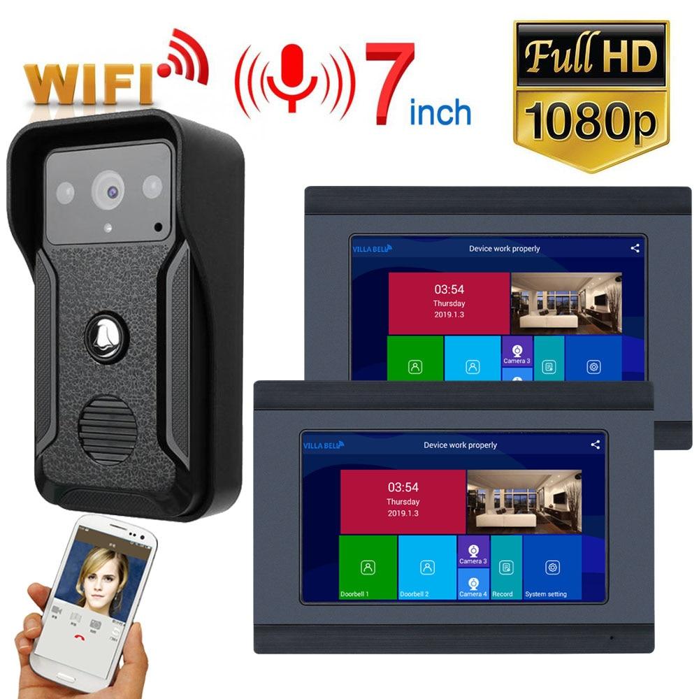 7 Inch Wireless Wifi Smart IP Video Door Phone Intercom System With 2 Night Vision Monitor + 1 Rainproof Doorbell Camera